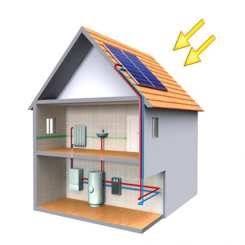 Solar thermal energy system in a modern house. Digital illustration, clipping path included.
